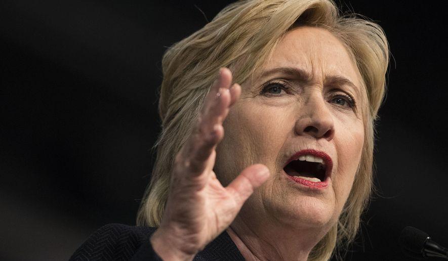 Democratic presidential candidate Hillary Clinton speaks in Philadelphia on July 8, 2016. (Associated Press) **FILE**