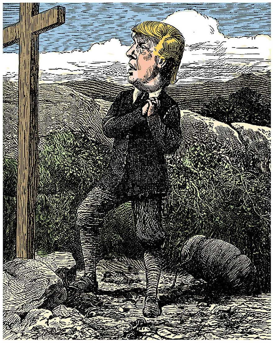 Illustration on the spiritual journey of Donald Trump by Alexander Hunter/The Washington Times