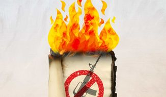 Burning Book Illustration by Greg Groesch/The Washington Times
