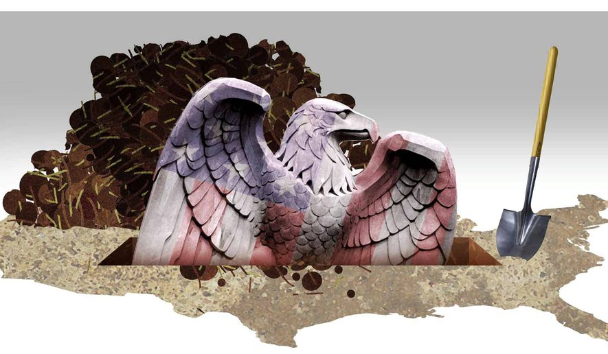 Illustration on impending U.S. government financial collapse by Alexander Hunter/The Washington Times