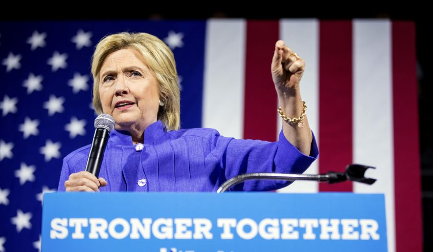 Democratic presidential candidate Hillary Clinton speaks at a rally the University of Cincinnati Dieterle Vocal Arts Center in Cincinnati, Monday, July 18, 2016. (AP Photo/Andrew Harnik)