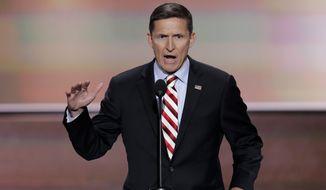 Retired Lt. Gen. Michael Flynn speaks during the opening day of the Republican National Convention on Monday in Cleveland. (Associated Press)
