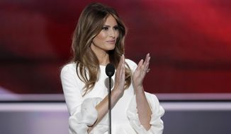 Melania Trump speaks on the opening night of the Republican National Convention. (Associated Press)
