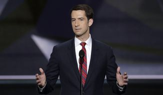 Sen. Tom Cotton, R-Ark., speaks during the opening day of the Republican National Convention in Cleveland, Monday, July 18, 2016. (AP Photo/J. Scott Applewhite) ** FILE **