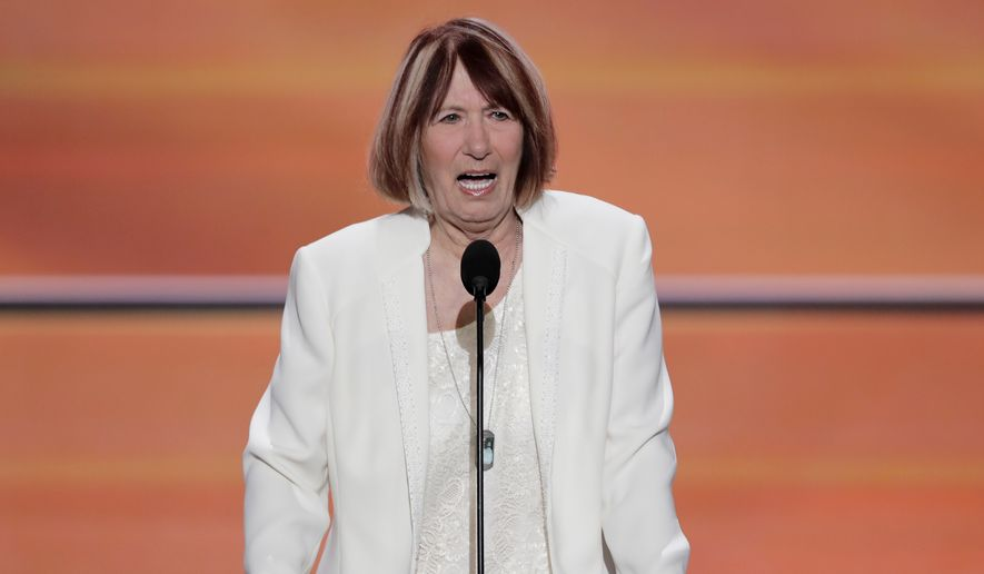 Pat Smith, mother of Benghazi victim Sean Smith speaks during the opening day of the Republican National Convention in Cleveland, Monday, July 18, 2016. (AP Photo/J. Scott Applewhite) ** FILE **