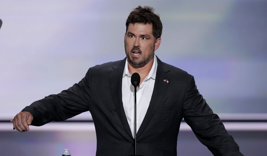 Retired U.S. Navy Seal Marcus Luttrell speaks during the opening day of the Republican National Convention in Cleveland, Monday, July 18, 2016. (AP Photo/J. Scott Applewhite)