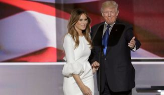 Republican Presidential candidate Donald Trump introduces his wife Melania during the opening day of the Republican National Convention in Cleveland, Monday, July 18, 2016. (AP Photo/J. Scott Applewhite)