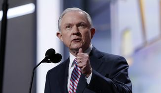 Sen. Jeff Sessions, R-Ala., speaks during the opening day of the Republican National Convention in Cleveland, Monday, July 18, 2016. (AP Photo/Carolyn Kaster)