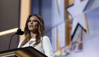 Melania Trump, wife of Republican Presidential Candidate Donald Trump, speaks during first day of the Republican National Convention in Cleveland, Monday, July 18, 2016. (AP Photo/Carolyn Kaster)