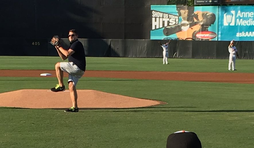 Jim Lokay of the District's Fox 5 affiliate, threw out the first pitch at a minor league game.