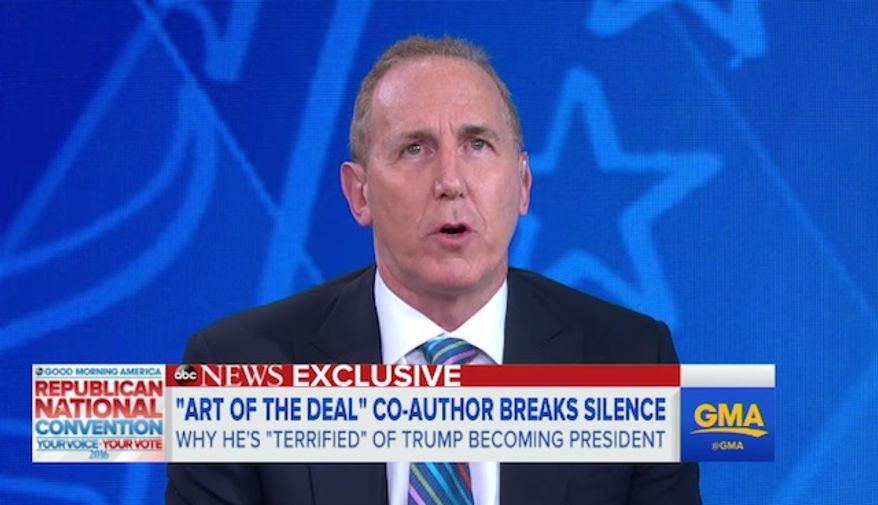 "Tony Schwartz, Donald Trump's co-author on the 1987 book ""The Art of the Deal,"" feels a ""deep sense of remorse"" for contributing to the business mogul's popularity, saying there is ""an excellent possibility"" that a Trump presidency would lead to the end of civilization."