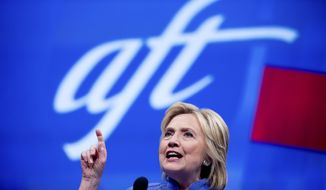 Democratic presidential candidate Hillary Clinton speaks at the American Federation of Teachers convention at the Minneapolis Convention Center in Minneapolis, Monday, July 18, 2016. (AP Photo/Andrew Harnik)