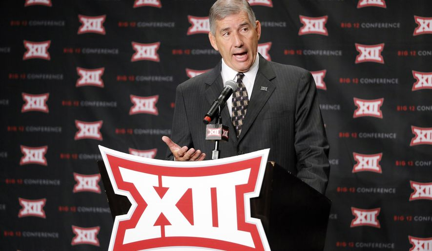 Big 12 commissioner Bob Bowlsby addresses attendees during Big 12 media day, Monday, July 18, 2016, in Dallas. With expansion still an unsettled issue for the Big 12 Conference, Commissioner Bowlsby gave his annual state of the league address to open football media days. And a day later he meets with the league's board of directors. (AP Photo/Tony Gutierrez)