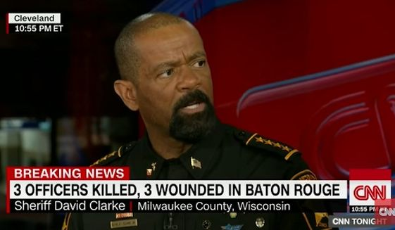 """Milwaukee County Sheriff David Clarke penned an op-ed Monday saying Americans are witnessing """"guerrilla urban warfare"""" against law enforcement following the slayings of police officers in Dallas and Baton Rouge. (CNN)"""