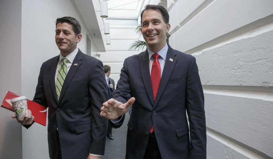 FILE - In this April 13, 2016, file photo, former GOP presidential candidate, Wisconsin Gov. Scott Walker, right, walks with House Speaker Paul Ryan of Wis., on their way to a meeting of House Republicans on Capitol Hill in Washington. In a list released Thursday, July 14, 2016, by the Republican National Committee, Walker and Ryan are slated to speak at the Republican national convention beginning Monday, July 18 in Cleveland. (AP Photo/J. Scott Applewhite, File)