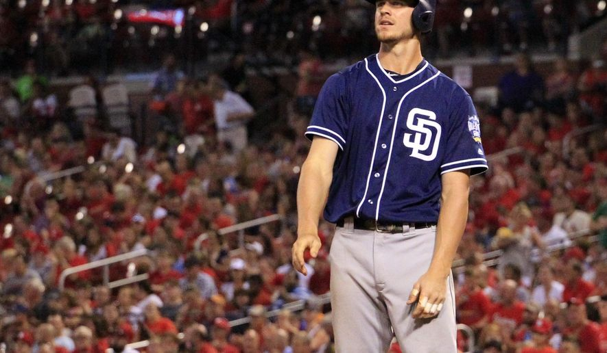 San Diego Padres' Wil Myers tosses his bat after striking out to end the top of the fifth inning of a baseball game against the St. Louis Cardinals Monday, July 18, 2016, in St. Louis. (AP Photo/Jeff Roberson)