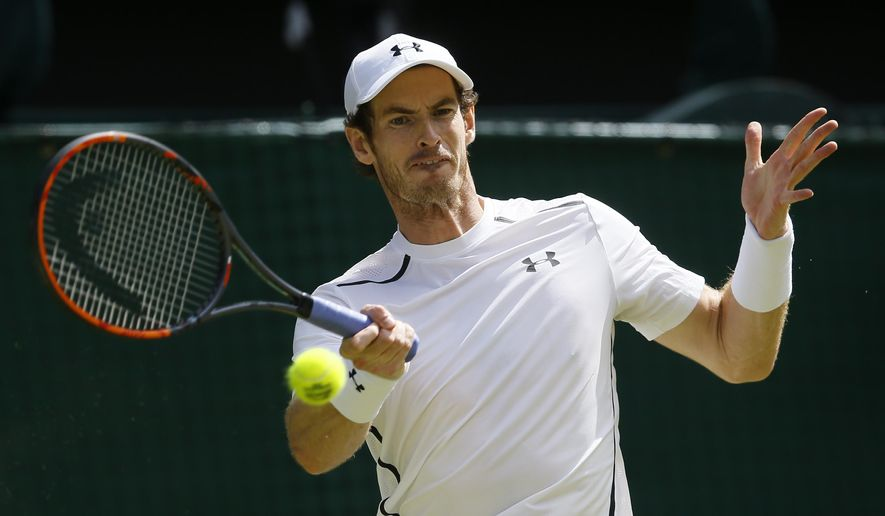 FILE - In this July 10, 2016, file photo, Andy Murray, of Britain, plays a return to Milos Raonic, of Canada, in the men's singles final of the Wimbledon Tennis Championships in London. Wimbledon champion Murray has withdrawn from the Rogers Cup tennis tournament because of fatigue. The world No. 2 men's tennis player and defending Rogers Cup champion made the announcement Monday, July 18, 2016, saying he needs time to rest after going deep in several recent tournaments. (AP Photo/Kirsty Wigglesworth, File)