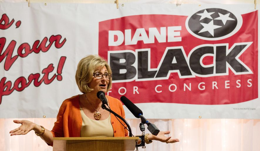 U.S. Rep. Diane Black, R-Tenn., speaks at a campaign event in Gallatin, Tenn., Tuesday, July 19, 2016. Black is facing a Republican primary challenge from former state Rep. Joe Carr of Murfreesboro. (AP Photo/Erik Schelzig)