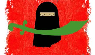 Illustration on the relationship between honor killings an Islamist terrorism by Alexander Hunter/The Washington Times