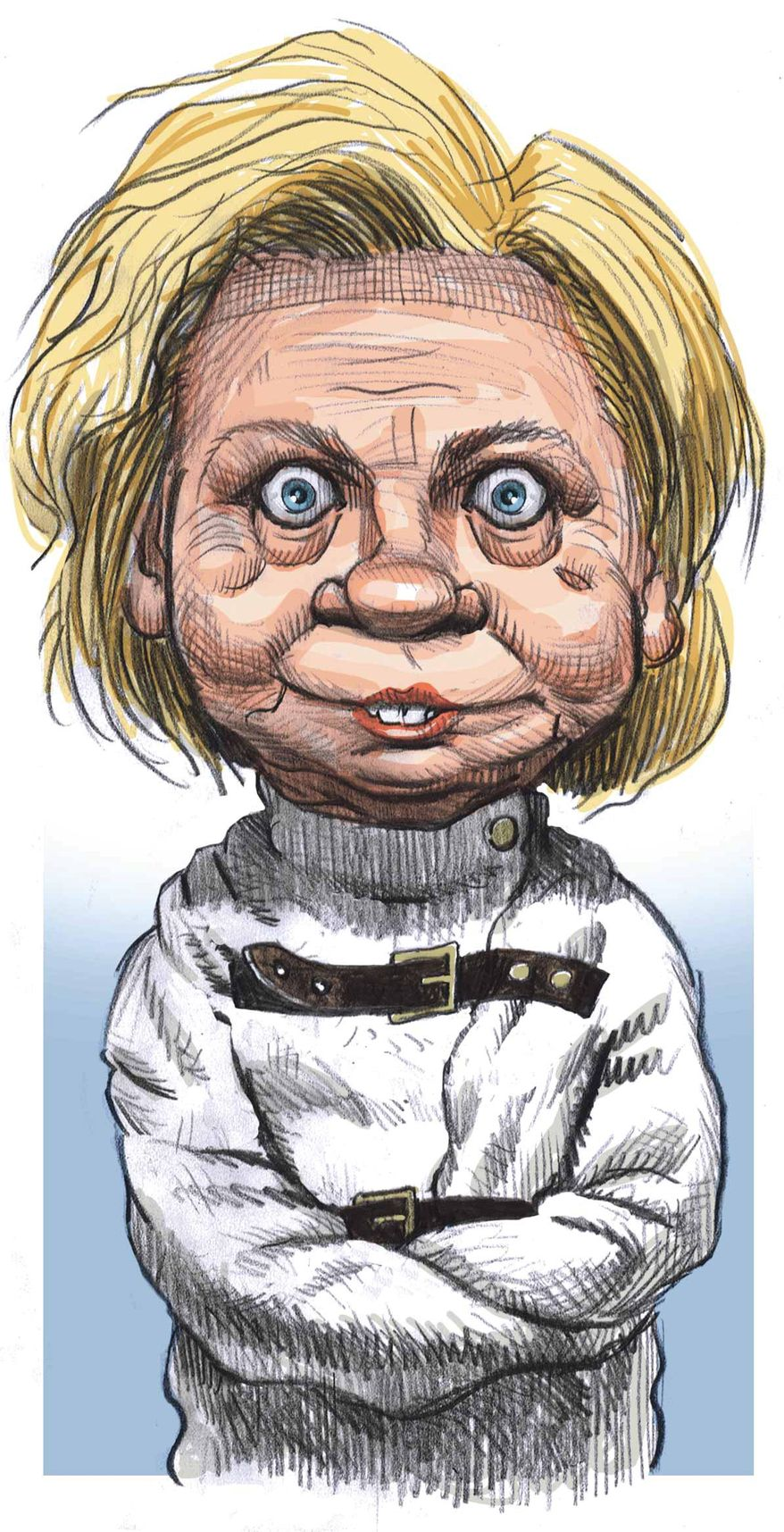 Hillary Clinton, certifiable. Illustration by Alexander Hunter/The Washington Times