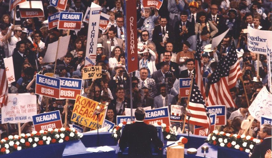 A historic and unifying moment: Ronald Reagan gives his acceptance speech at the 1980 Republican National Convention. (National Archives and Records Administration)