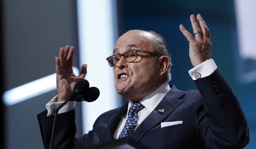 Former New York Mayor Rudy Giuliani speaks during first day of the Republican National Convention in Cleveland, Monday, July 18, 2016. (AP Photo/Carolyn Kaster) ** FILE **