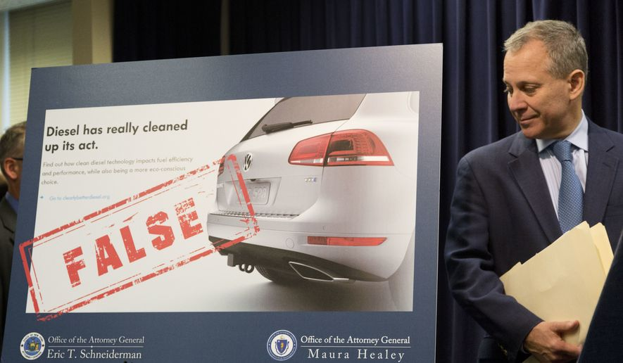 """New York Attorney General Eric Schneiderman announces a lawsuit against Volkswagen, Tuesday, July 19, 2016, in New York. Several states are suing Volkswagen and its affiliates Audi and Porsche over diesel emissions cheating, alleging that the German automakers defrauded customers by selling diesel vehicles equipped with software allowing them to cheat emissions testing. In response, the company said, """"The allegations in complaints filed by certain states today are essentially not new and we have been addressing them in our discussions with U.S. federal and state authorities."""" (AP Photo/Mark Lennihan)"""