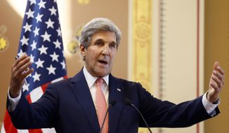 U.S. Secretary of State John Kerry speaks during a press conference with Britain's Foreign Secretary Boris Johnson at the Foreign Office in London, Tuesday, July 19, 2016. (AP Photo/Kirsty Wigglesworth, pool)