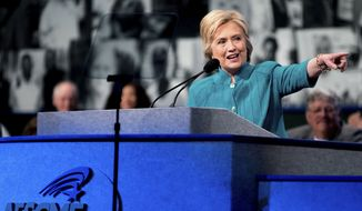 Democratic presidential candidate Hillary Clinton speaks at the American Federation of State, County and Municipal Employees 42nd International Convention at the Las Vegas Convention Center in Las Vegas, Tuesday, July 19, 2016. (AP Photo/Andrew Harnik) **FILE**