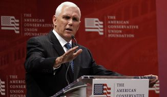 Republican vice presidential candidate Gov. Mike Pence, R-Ind., speaks during a luncheon sponsored by the American Conservative Union Foundation, Tuesday, July 19, 2016, in Cleveland. (AP Photo/Mary Altaffer)