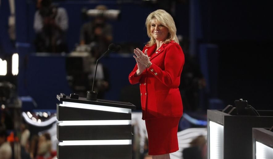 "Sharon Day, co-chair of the Republican National Committee, said Hillary Clinton, Democrats' presumptive presidential nominee, must be denied a return to the White House both because of her own record and because she ""viciously attacked the character of women who were sexually abused at the hands of your husband."" (Associated Press)"