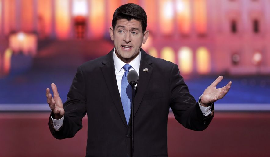 House Speaker Paul D. Ryan speaks during the second day of the Republican National Convention on Tuesday in Cleveland. (Associated Press)