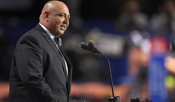 Sajid Tarar, Founder of American Muslims for Trump, delivers the benediction at the conclusion of the second day of the Republican National Convention on Tuesday in Cleveland. (Associated Press)