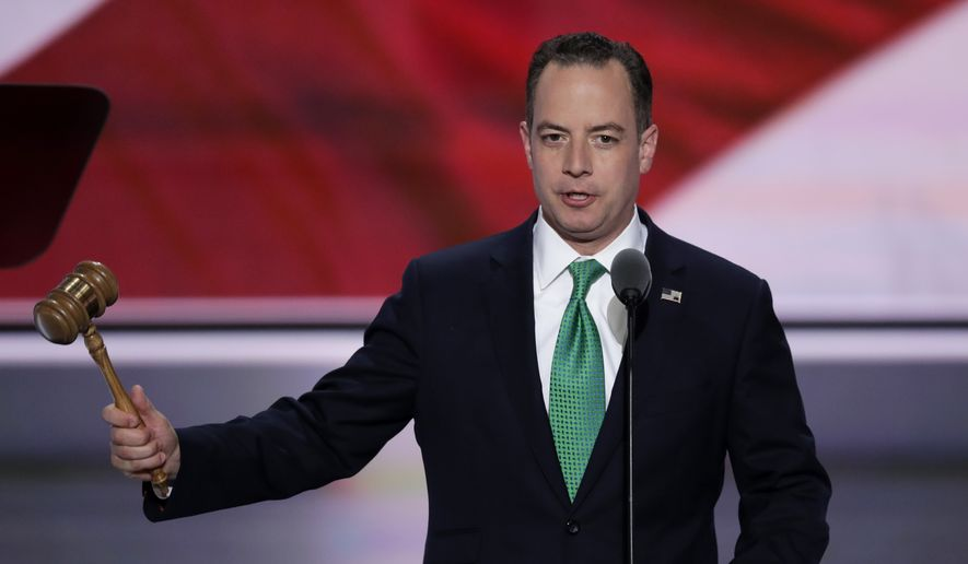 Reince Priebus, Chairman of the Republican National Committee, gavels the convention to order during the second day of the Republican National Convention in Cleveland, Tuesday, July 19, 2016. (AP Photo/J. Scott Applewhite)