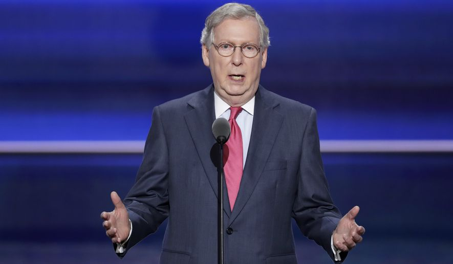 Senate Majority Leader Mitch McConnell of Kentucky speaks during the second day of the Republican National Convention on Tuesday in Cleveland. (Associated Press)