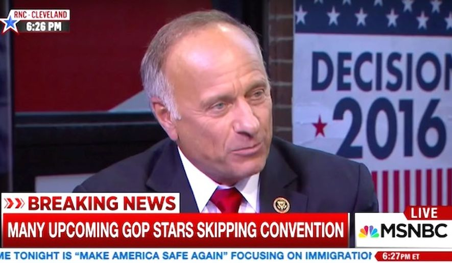 """Rep. Steve King of Iowa asked MSNBC gave a staunch defense of Western civilization on Monday, July 18, 2016, during an MSNBC interview and was accused of """"white supremacist"""" speech by Vanity Fair. (MSNBC screenshot)"""