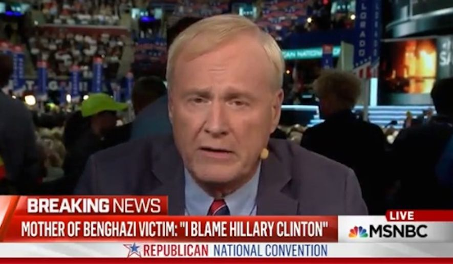 "MSNBC host Chris Matthews claimed Monday that the mother of Sean Smith, a U.S. information management officer killed in the 2012 Benghazi terrorist attack, ""ruined"" the evening with her criticism of Hillary Clinton during the Republican National Convention in Cleveland. (MSNBC via Mediaite)"