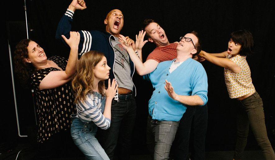 "In this image released by TFA, Tami Sagher, from left, Gillian Jacobs, Keegan-Michael Key. Mike Birbiglia, Chris Gethard and Kate Micucci appear in a scene from, ""Don't Think Twice."" Mike Birbiglia's ""Don't Think Twice"" lovingly dramatizes the communal but competitive lives of a fictional improv troupe, one whose members bob and weave like featherweight boxers on stage and off it navigate painfully disparate opportunities in show business. (Jon Pack/TFA via AP)"