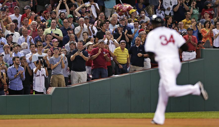 Fans applaud as Boston Red Sox designated hitter David Ortiz (34) rounds the bases on a three-run, home run during fourth inning of a baseball game against the San Francisco Giants at Fenway Park, Tuesday, July 19, 2016, in Boston. (AP Photo/Charles Krupa)
