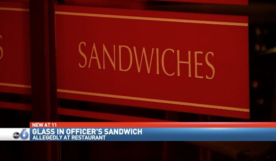 Police are investigating a restaurant in Columbus, Ohio, after an officer was hospitalized from eating a sandwich with glass in it. (WSYX/WTTE)