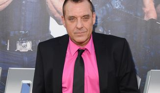 "Actor Tom Sizemore arrives at the premiere ""The Expendables 3"" in Los Angeles, Aug. 11, 2014. Police arrested Sizemore on suspicion of domestic violence Tuesday, July 19, 2016 after receiving a call around 8:15 a.m. about a fight involving the actor in downtown Los Angeles. (Photo by Jordan Strauss/Invision/AP) ** FILE **"