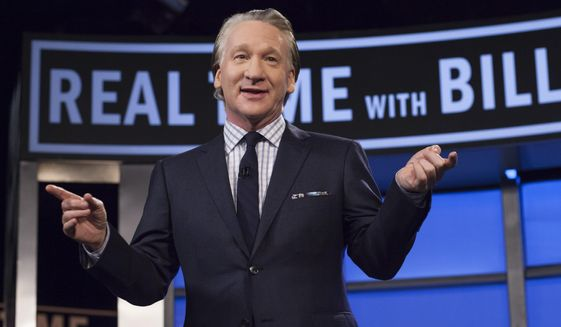 """This April 8, 2016 photo released by HBO shows Bill Maher, host of """"Real Time with Bill Maher,"""" during a broadcast of the show in Los Angeles. (Janet Van Ham/HBO via AP)"""