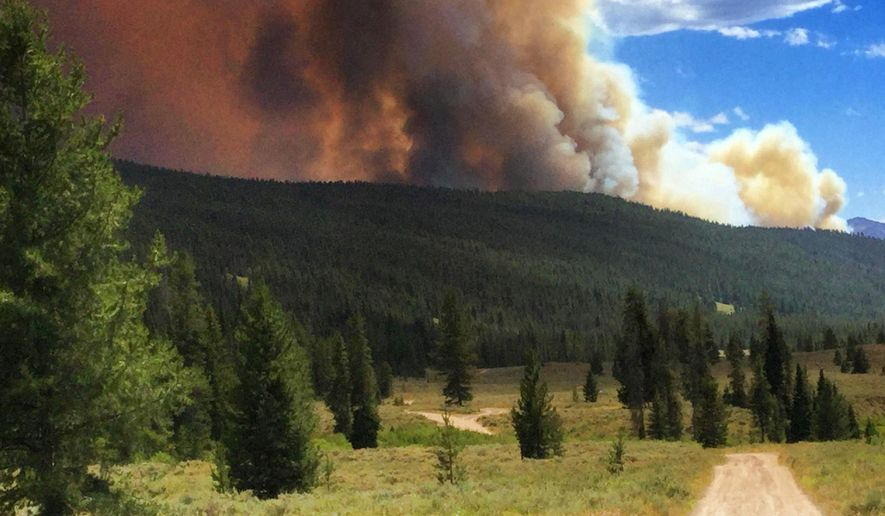 This photo provided by the U.S. Forest Service shows a dirt road that leads toward a wildfire that has burned at the Bridger-Teton National Forest near Moran, Wyo., Tuesday, July 19, 2016. The fire has forced evacuation of homes and businesses in a sparsely populated area and the closure of U.S. 191/189, a route that leads to the popular Jackson Hole area and Yellowstone National Park in northwest Wyoming. (Lesley Williams/U.S. Forest Service via AP)