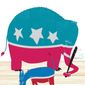 Illustration on the excess brought out in partisans at election time by Linas Garsys/The Washington Times