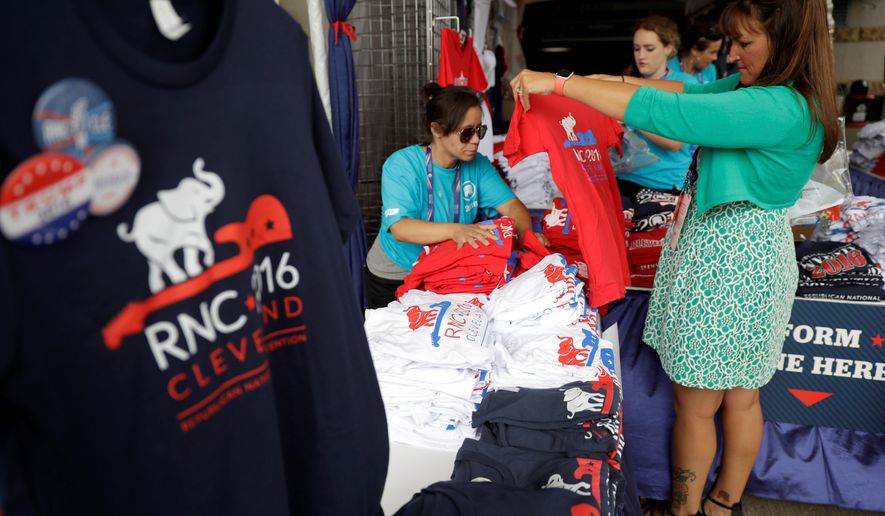Inside Cleveland's Quicken Loans arena, souvenir stalls sell plain red or gray T-shirts that don't quite match the fevered pitch of Donald Trump's raucous rallies. (Associated Press)