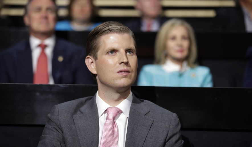 Eric Trump, son of Republican Presidential nominee Donald J. Trump, watches during the third day session of the Republican National Convention in Cleveland, Wednesday, July 20, 2016. (AP Photo/John Locher)