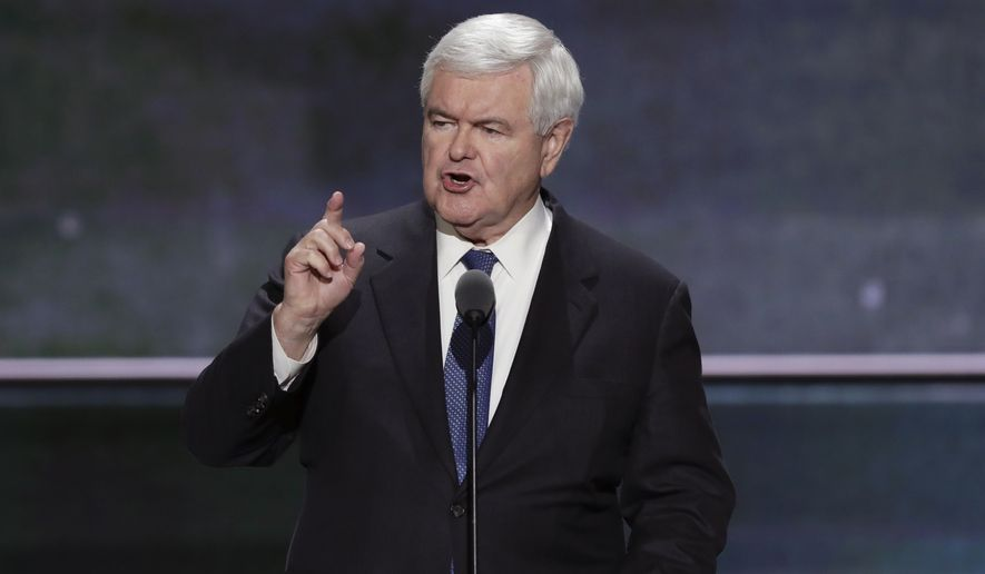 """Ted Cruz said, 'You can vote your conscience for anyone who will uphold the Constitution,'"" Newt Gingrich said, playing damage control for Mr. Cruz. ""In this election there is only one candidate who will support the Constitution."" (Associated Press)"