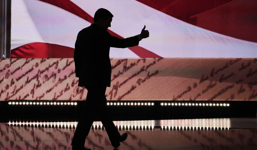 Sen. Ted Cruz, R-Tex., flashes a thumbs up as he leaves the stage during the third day of the Republican National Convention in Cleveland, Wednesday, July 20, 2016. (AP Photo/J. Scott Applewhite)