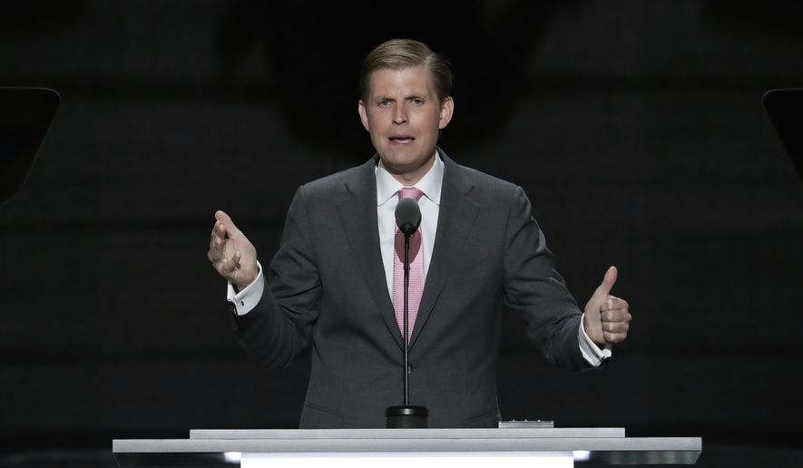 Eric Trump, son of Republican Presidential nominee Donald J. Trump, speaks during the third day of the Republican National Convention in Cleveland, Wednesday, July 20, 2016. (AP Photo/J. Scott Applewhite) ** FILE **