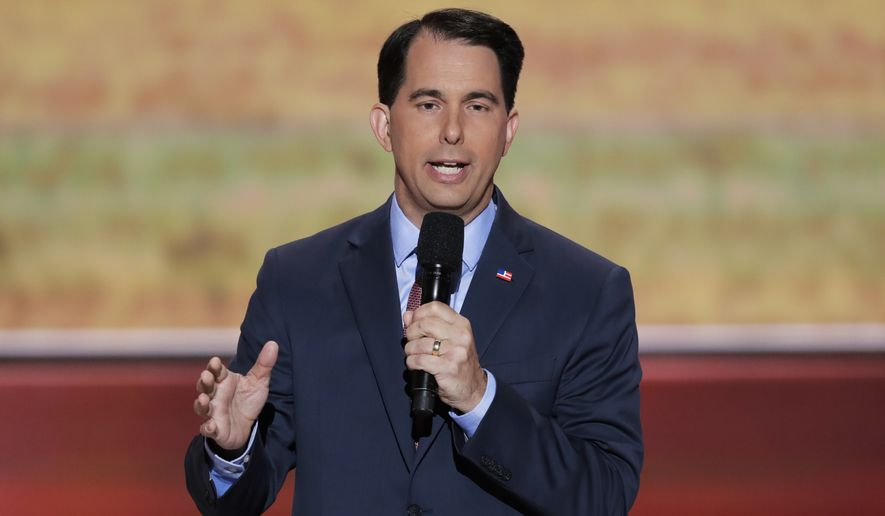 Gov. Scott Walker of Wisconsin speaks during the third day of the Republican National Convention on Wednesday in Cleveland. (Associated Press)